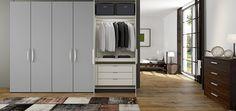 Harmaa vaatekaappi. Jutzler - vallaste.fi Bedroom Wardrobe, Wardrobes, Projects To Try, Loft, Doors, Design, Home Decor, Dorm Closet, Closets