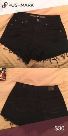 American Eagle black shorts Stretch fit. Worn once. Size US2 American Eagle Outfitters Shorts Jean Shorts