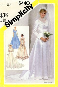 Vintage Sewing Pattern - 1982 Misses Brides or Bridesmaids Lined Dress, Simplicity 5440 Size 14 Bust 36