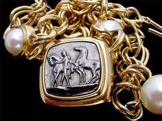Vintage Marvella Horse Pearl Necklace Black Enamel Equestrian Gold Link Signed   eBay