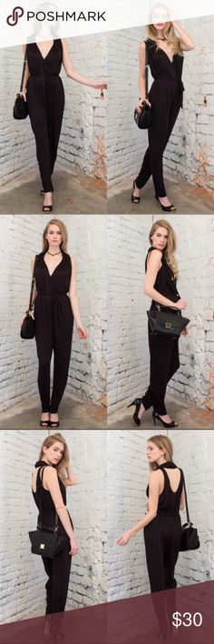 "Black Jumpsuit Comfy black jumpsuit.  Made to fit loose, with a tie around the waist S 46"" waist at widest ~25"" inseam  M 50"" waist at widest ~26"" inseam April Spirit Pants Jumpsuits & Rompers"