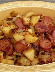 Kielbasa and Potato Recipe This was so easy to make. I decided to make scramble eggs with this. Everyone loved this. A good addition for my breakfast for dinner menu. Made 5-7-13- Make this recipe with Johnsonville Polish Kielbasa Split Rope Sausage!