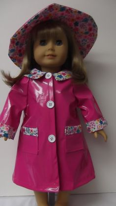 American Girl Doll Clothes Pink Raincoat and Hat by susiestitchit