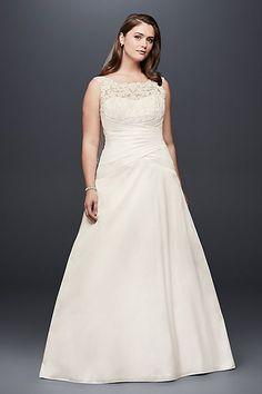 Illusion Lace and Taffeta Plus Size Wedding Dress | David's Bridal