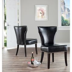 Safavieh Matty Black Leather Nailhead Dining Chairs (Set of 2) - Overstock Shopping - Great Deals on Safavieh Dining Chairs