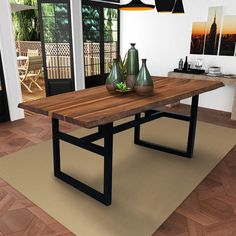 Gable Live Edge Dining Table