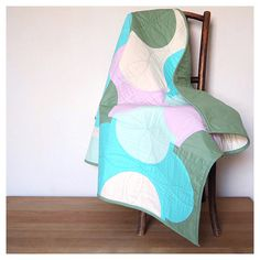 Handmade geometric quilt, Throw quilt, Double quilt, Modern Baby Quilt, Turquoise and pink, Quilts for sale, Hygge, Slow living, Boho baby,