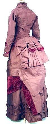 c. 1880 Museum Quality 3-Piece Dark Plum Taffeta and Embossed Deep Garnet Velvet Bustle Gown
