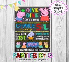 Peppa Pig George Chalkboard Birthday Party by PartiesByG on Etsy
