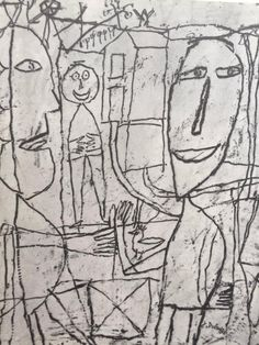 Drawings of Jean Dubuffet Edition, 1960 Modern Art, Contemporary Art, Graffiti, Jean Dubuffet, Art Brut, Illustration Art, Illustrations, Guy Drawing, Outsider Art