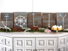 HGTV Coastal Christmas Decor -DIY Sign, Stockings, Sea'sons Greetings