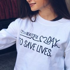 Discover Its A Beautiful Day To Save Lives T-Shirt from GREY'S FANS SPECIAL! - Its A Beautiful Day To Save Lives Greys Anatomy Tshirts, Greys Anatomy Sweatshirt, Greys Anatomy Scrubs, Grey Sweatshirt, Grays Anatomy, Grey's Anatomy Clothes, Ropa Teen Wolf, Save Life, Unisex