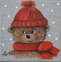 tableau peinture ours sur toile en lin décoration chambre d'enfant