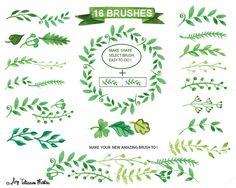 Watercolor green branches vector by Tatiana Kost design on @creativemarket