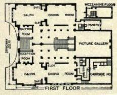 "First Floor plan of the John Jacob Astor Mansion, when it was a twin townhouse shared with his mother, The Mrs. Astor of the, ""400""."