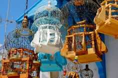 Photograph of bird cages in Sidi Bou Said Tunisia