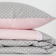 Pościel różowo- szara w kropeczki Baby Pillows, Pillow Cases, Home, Ad Home, Homes, Haus, Houses