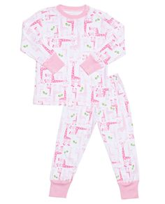 Pima Cotton PJs Pink Giraffes – mio mio