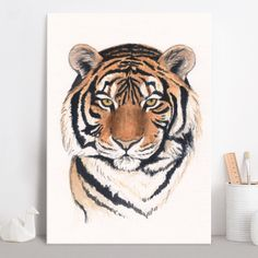 Tiger portrait (Watercolor painting) Poster made out of metal by @savousepate on @displate #artprint #homedecor #tiger