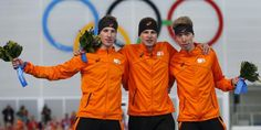 08-02-2014. We're quite sure Jan Blokhuijsen slept in his #GFNL clap skates shirt last night. What else could have brought so much luck to the Dutch skating team at the 5km skating race in #Sotchi? ;-] On the stage it was orange from left to right! A super big congrats to Jorrit Bergsma for winning bronze, Blokhuijzen for winning silver and Sven Kramer for winning gold! #greetingsfromnl