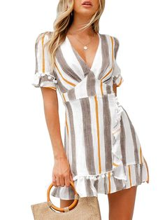 online shopping for Simplee Women Sexy Deep V-Neck Short Sleeve Stripe Print Mini A Line Dress from top store. See new offer for Simplee Women Sexy Deep V-Neck Short Sleeve Stripe Print Mini A Line Dress Elegant Dresses Classy, Sophisticated Dress, Classy Dress, Classy Wedding Dress, Summer Formal Dresses, Casual Dresses, Short Dresses, Dress Summer, Summer Outfits