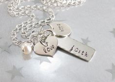 Hand Stamped Necklace Faith Pendant Sterling by GracieJewellery, $52.00