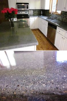We have stained laminate countertops. Since we will expand and redo the kitchen in 4-5 years, I like this DIY stone overlay you can put on your counters.