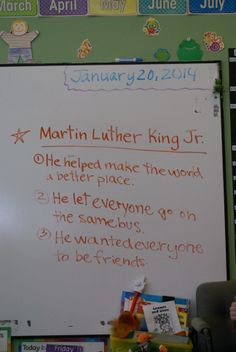 Campers come up with top three take-aways from learning about Dr. King while celebrating MLK Day in Kindergarten. #MLK