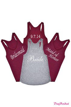 Wedding Party SET of 4 Tank Tops with Wedding Date bridesmaid shirt bride gift team bride maid of honor future mrs mother of the bride posse on Etsy, $92.00