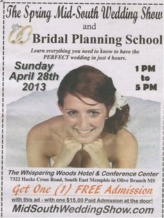 Only 2 weeks until the BIG Spring Bridal Show & Wedding Planning School – if you would like to join the Number #1 Bridal show in the Mid-South or just come by to check out the show to see what it is all about – let me know  http://www.midsouthweddingshow.net/April-28th-2013-Wedding-Show.html