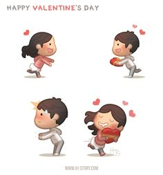 HJ-Story comic of love! Little cute romance episodes of love and happiness to brighten up your day. Cute Couple Comics, Cute Couple Cartoon, Cute Cartoon Characters, Cute Comics, Cartoon Love Quotes, Cute Love Cartoons, Cute Love Stories, Love Story, Happy Chocolate Day