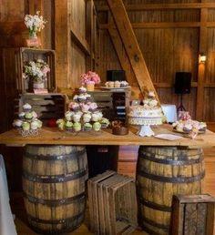 Image result for wine barrel buffet station