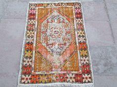 VINTAGE Cappodocia Tribal Turkish Carpet Handmade by CAPPODOCIARUG, $165.00
