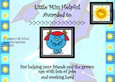 A lovely set of Mr Men and Little Miss certificates for 'graduating' from Reception class!