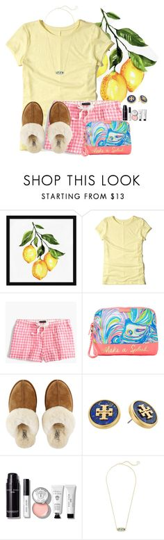 """Goodnight everyone! Sleep well"" by flroasburn ❤ liked on Polyvore featuring Pottery Barn, Hollister Co., J.Crew, Lilly Pulitzer, UGG, Tory Burch, Bobbi Brown Cosmetics and Kendra Scott"