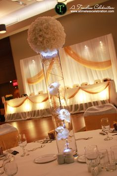 Flower Ball & Orchids Lighted Wedding Reception Centerpiece | A Timeless Celebration Events Styling & Management Montreal