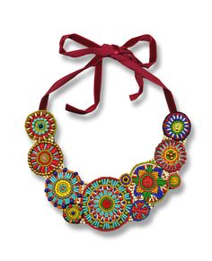 Embroidered Seed Bead necklace by Elsa Mora, Puerto Rico