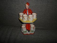 Vintage Art Deco Figural Decanter Barware Cocktail Set German Porcelain