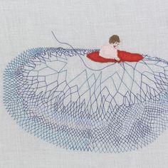 Sandra Dufour Psychologies avril 2013 Que cache votre impatience ? Contemporary Embroidery, Modern Embroidery, Embroidery Thread, Embroidery Patterns, Art Fibres Textiles, Textile Fiber Art, Textile Artists, Art Fil, Creative Textiles