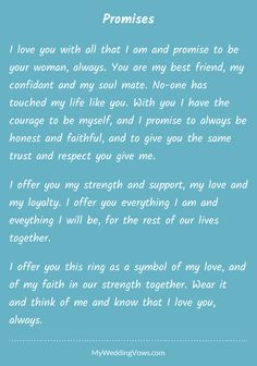 Best wedding vows to husband i promise marriage Ideas