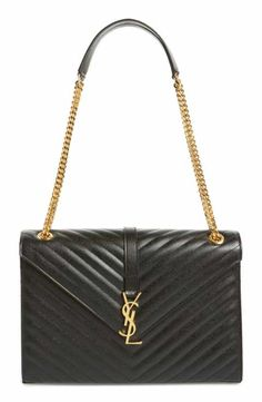 The Saint Laurent Large Monogram' Grained Black/Gold Leather Shoulder Bag is a top 10 member favorite on Tradesy. Chain Shoulder Bag, Leather Shoulder Bag, Shoulder Strap, Shoulder Handbags, Luxury Handbags, Purses And Handbags, Designer Handbags, Ysl Handbags, Saint Laurent