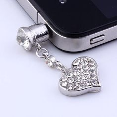 1p Clear Crystal Heart Dangle Anti Dust Plug Stopper for Iphone Cell Phone: Cell Phones & Accessories