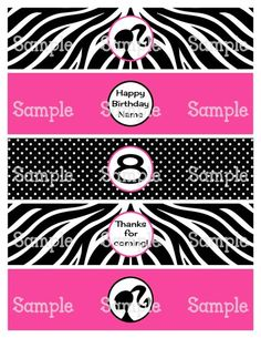 Printable Polka Dots  Hot Pink Personalized Water Bottle Labels