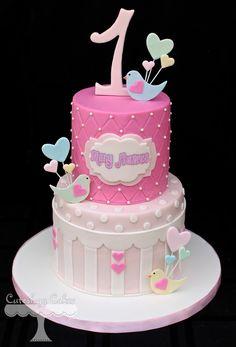 Bird themed 1st birthday cake www.facebook.com/i.love.cuteology.cakes