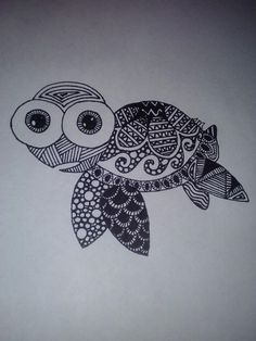 Zentangle Turtle. Serial in love with this little guy' I'd like a top view of him!