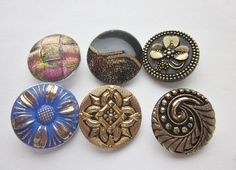 Modern Czech Republic Glass Buttons.  Blue with Gold Luster, Black Glass Gold Luster Clover. Iridescent Glass Button. Imitation Fabric. by OneWomanRepurposed on Etsy