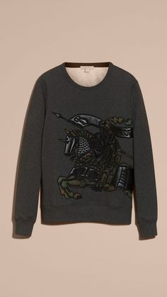 Equestrian Knight Motif Cotton and Lambskin Sweatshirt | Burberry