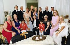 Special occasion: Celine Dion's three sonsjoined her in an Instagram photo posted Monday, posing with Celine's mother Thérèse Tanguay-Dion on the latter's 90th birthday
