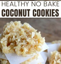 No-Bake Coconut Cookies. One of my favorite gluten-free recipes, and go-to sweet treat has long been healthy no-bake cookies. I've been playing around with making different kinds of healthy cookies. The winner? Behold, the no-bake Coconut cookie! No Bake Coconut Cookies, Healthy No Bake Cookies, No Bake Snacks, Gluten Free Cookies, Fun Desserts, Delicious Desserts, Dessert Recipes, Healthy Baking, Healthy Food