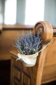 For you church wedding decorations, you can set hanging arrangement with rustic basket of lavenders to accentuate the aisle. Even, the lavender itself will bring good vibes to your wedding since it has the meaning of love and devotion. Lilac Wedding, Glamorous Wedding, Wedding Flowers, Fall Wedding, Church Wedding Decorations, Ceremony Decorations, Handmade Wedding, Rustic Wedding, Wedding Chairs